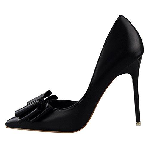 Élégant Nœud Pour Noir Inconnu Chaussures Fermés Hauts Pointus Pumps Escarpins Aiguille Talons Femme Sandale fzF0fP