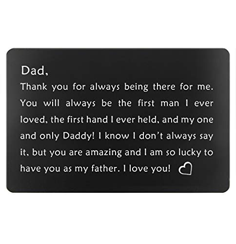 Birthday Gifts for Dad from Daughter, Fathers Day Gifts Ideas, Dads Christmas Present, Engraved Wallet Insert for Father (Black, Gifts for Dad)
