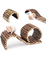 PINVNBY Hamster Suspension Bridge Ladder Rodents Natural Wooden Arch Bendable Bridge Chew Toy Long Climbing Ladder for Hamster Guinea Chipmunk Pig and Other Small Animals (2 Kinds Length)