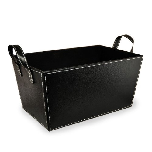 The Lucky Clover Trading Faux Leather Storage Basket, Black