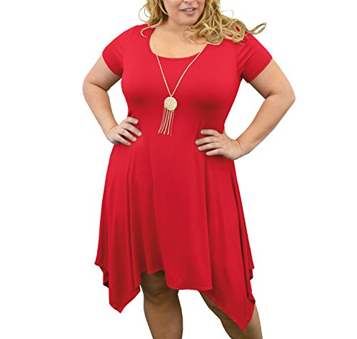 Urban Rose Womens Dress With Necklace – Plus-Size, Short Sleeve, Sharkbite Hem