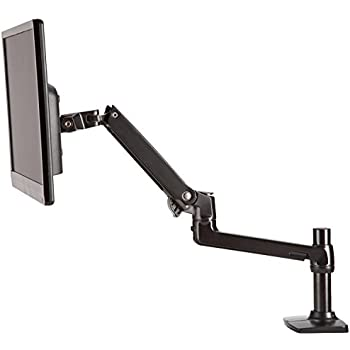 AmazonBasics Premium Single Monitor Stand - Lift Engine Arm Mount, Aluminum