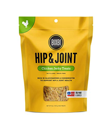 - Bixbi Hip & Joint Dog Jerky Treats, Chicken, 5 Ounce