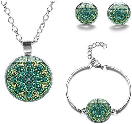 DADATU Vintage Indio Mandala Joyería Conjuntos Bohemio Patrones Cristal Cristal Plata Color Collar Pendientes Pulsera Conjunto De Joyería