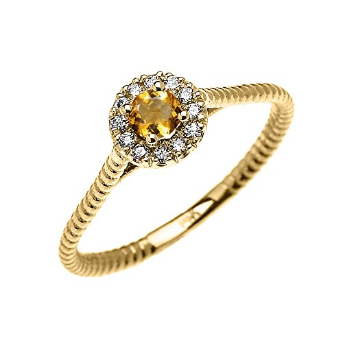 Citrine Rope - 10k Yellow Gold Dainty Halo Diamond and Solitaire Citrine Rope Design Promise Ring (Size 6)