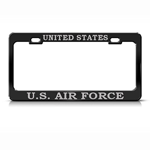 United States U.S. Air Force Steel Heavy Duty Black License Plate Frame Tag Border Gray