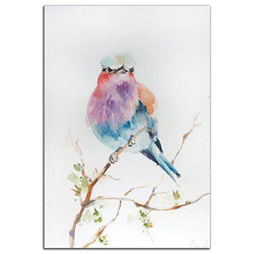 Lilac Hybrid (Colorful Bird Art 'Lilac Bird' - 32x22in. Metal Giclée - Modern Watercolor Rainbow Birds Artwork, Traditional/Contemporary Hybrid Wall Decor, Multicolor Pastel Painting by Sophia Rodionov)