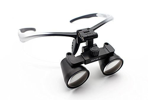 Featured on ''Bones'' -- Dental Surgical Medical Binocular Loupes -- 2.5x Power -- 5 Working Distance Options -- Flip Up Sports Frame (Black, Blue, Red, Pink, Silver) by Schultz Loupes