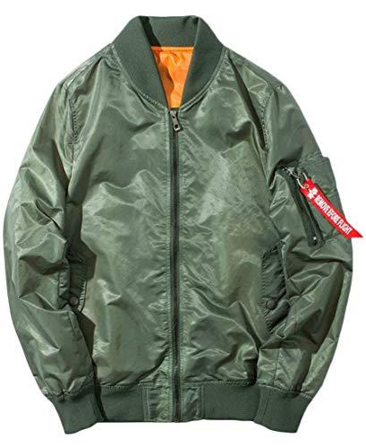 Suede Us Army Baseball Jacket - Joe Wenko Mens Zipper Baseball Long Sleeve Bomber Biker Casual Jacket Coat Army Green XL