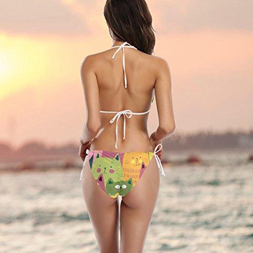 Cute Two Bikini Cats Pieces Alaza Bikini Multicolor Colorful Funny Swimsuit X1HvRq7