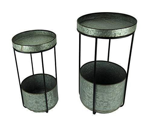 Rustic Galvanized Metal Round Planter Tables Set of 2 ()