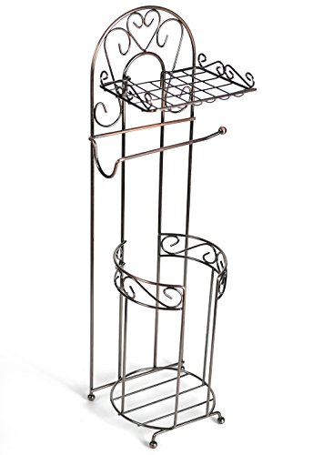 McLee Creations Free Standing Toilet Paper Holder with Phone Shelf for Bathroom, Oil Rubbed Bronze