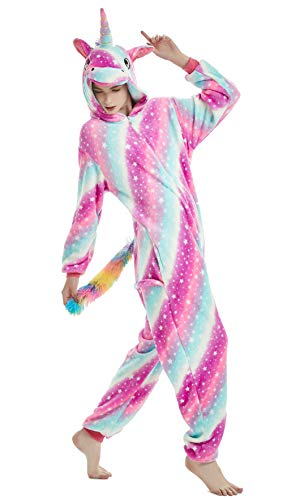 AooToo Fleece Unicorn Onesie Pajamas for Girls Women Hallowe