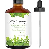 XL Essential Aromatherapy Peppermint Oil (Large 4 fl oz Bottle) | Undiluted Therapeutic Grade | Eliminate Headaches | w/Glass Dropper by Lily & Lush