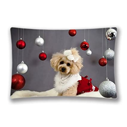 Amazon Com Xmas Stuff For Cute Dog Christmas Pillow Cover Pillow
