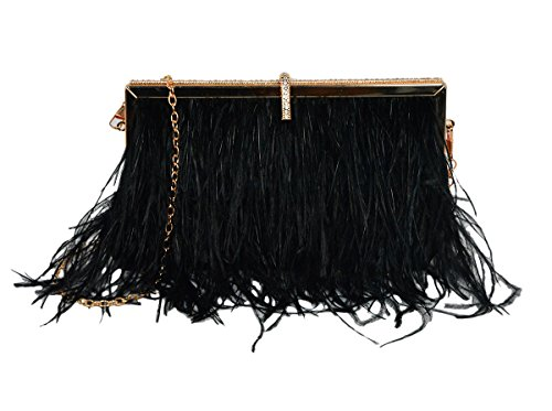 L'vow Women' Fluffy Ostrich Feather Evening Clutch Wedding Bridal Handbag Shoulder bag (Black) by L'vow