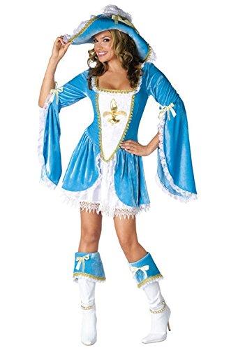 Mememall Fashion Madam Musketeer Renaissance Adult Halloween Costume (Madam Musketeer Adult Costume)