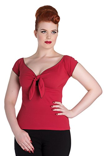 Hell Bunny Bardot Rockabilly 50's Blouse Jersey Top - Red (4XL)