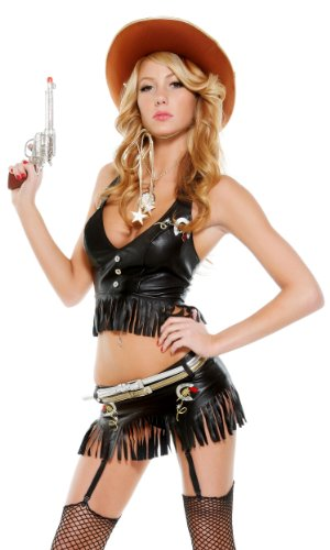 Forplay Women's Gunslinger Adult Sized Costumes, Black, ()