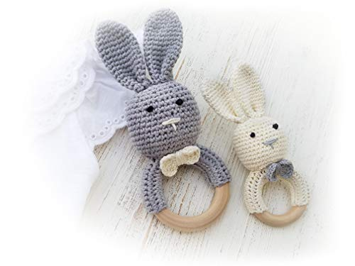 Natural Wooden Baby Toys Cotton Crochet Bunny Teething Ring Teether Rattle Set of 2 Newborn Unisex (White Mama Grey Baby)