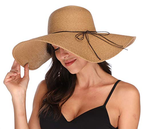 (Lanzom Womens Big Bowknot Straw Hat Floppy Foldable Roll up Beach Cap Sun Hat UPF 50+ (X-Khaki))