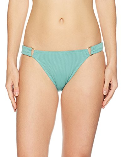 Mae Women's Swimwear Point Lookout Ribbed D-ring Bikini Bottom,Antique Jade,Medium - Ribbed Ring Seat