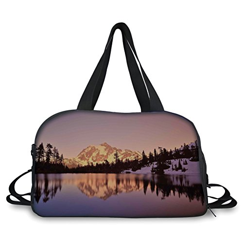- iPrint Travel Handbag,Lake House Decor,Snow Capped Mt Shuksan and Lake at Sunset Evening View National Forest Washington,Yellow Purple ,Personalized