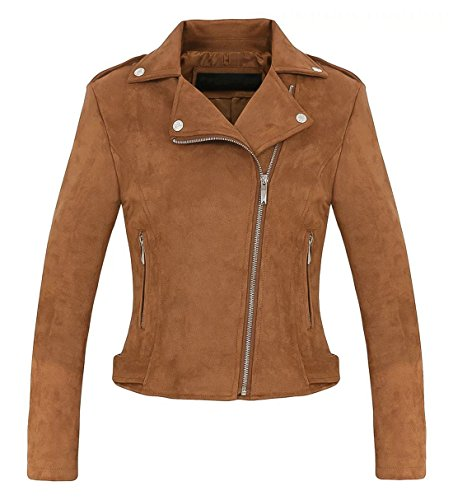(Chartou Women's Stylish Notched Collar Oblique Zip Suede Leather Moto Jacket (Large,)