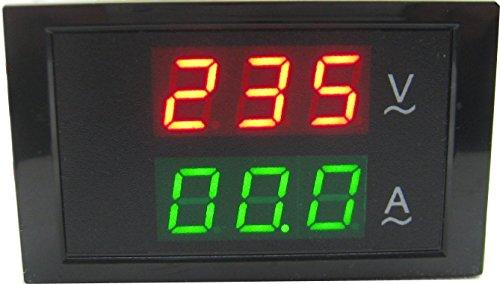 Yeeco 110V/220V 80V-300V/100A Digital AC Current Voltage Meter Volt amp Ammeter Gauge+Sensor Transformer LED Dual Display Voltmeter Gauge+Current Sensor (Line Voltage Transformer)