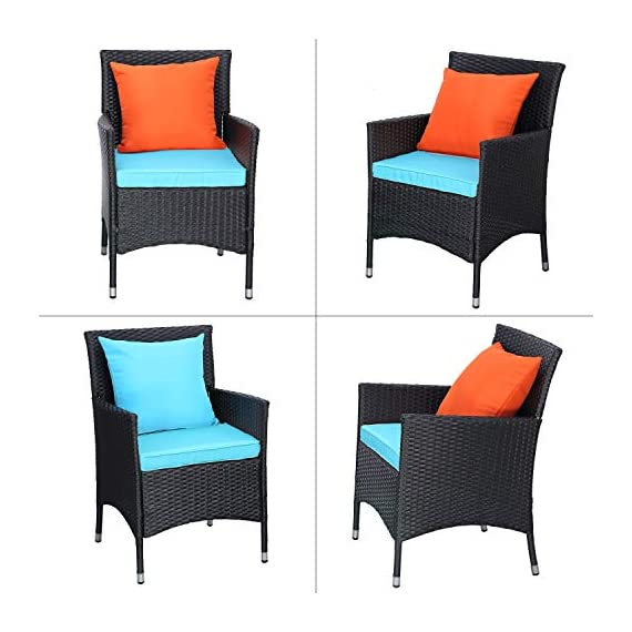 Do4U Outdoor Furniture Sets 3 Pieces Patio Wicker Bistro Set with Coffee Table Garden Lawn Dining Chairs (Turquoise) - 【3 PCs Patio Set Included】Composed of 2 single sofas and 1 coffee table with tempered glass for the complete outdoor conversation set. NO PILLOWS. 【All Weather-Resistant Resin】Designed Perfect for indoor, outdoor garden, apartment, park, porch, poolside and yard use, this wicker conversation set is strong enough to withstand the rain, sun, and wind. 【Upgraded Comfort】These lofty sponge padded cushions won't collapse after use, resist water, and easy to clean in between uses, and the cushion covers remove with a quick zip. - patio-furniture, patio, conversation-sets - 415oPPaNSwL. SS570  -