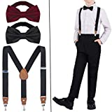 LOLIAS Y-Back Suspenders and Bow Tie for Kids Black Navy Gray Occidental Leather Suspenders