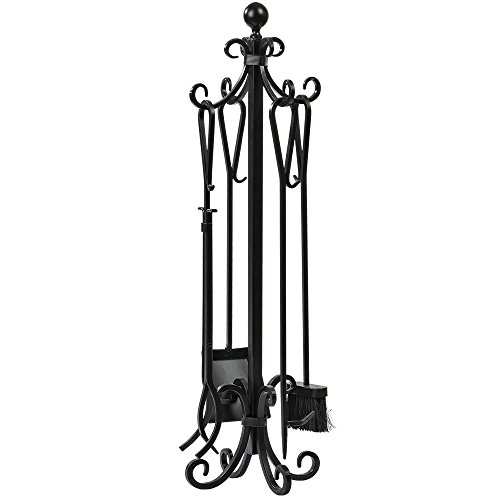 5 Pieces Scroll Fireplace Tools Set Black Cast Iron Fire