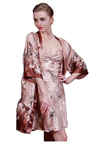 Olivery Womens Faux Silk Sleepwear, Gorgeous Floral Nightgown Bath Pajamas Set. Choose Your Favorite 2 Pcs Top & Crop Pants, Robe & Lingerie or 1 Piece Slip Style