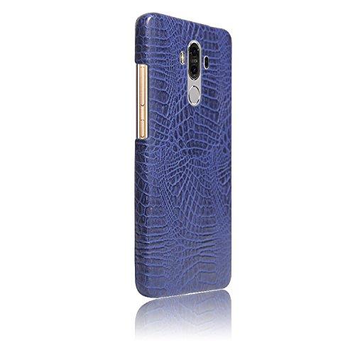 YHUISEN Patrón de piel de cocodrilo clásico de lujo [ultra delgado] cuero de la PU antirayaduras de la PC cubierta protectora de la caja dura para Huawei Mate 9 ( Color : White ) Blue