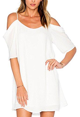 Playa Lisos Tirantes de Freestyle Casual Mujer Verano Vestidos Atractivo Colores Vestido Beachwear T Shirt Manga Corta de Gasa Sin Coctel Partido Mini Fiesta Corto Blanco Vestidos qRwSqx0
