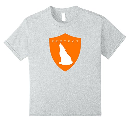 Kids Protect Wolves Endangered Species Eco Awareness T-Shirt 8 Heather Grey (Kids Eco Heather)