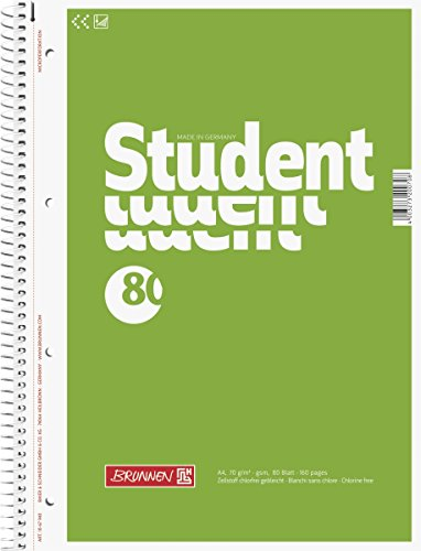 Brunnen 1067940 Notizblock / Collegeblock Student (A4, unliniert 70g/m², 80 Blatt)