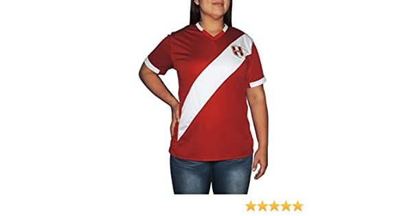 Amazon.com: Ama Quella Crafts Peru Soccer Jersey Replica for Women, White Or Red. Russia World Cup 2018. Camisetas Seleccion Peruana de Futbol (Large, ...