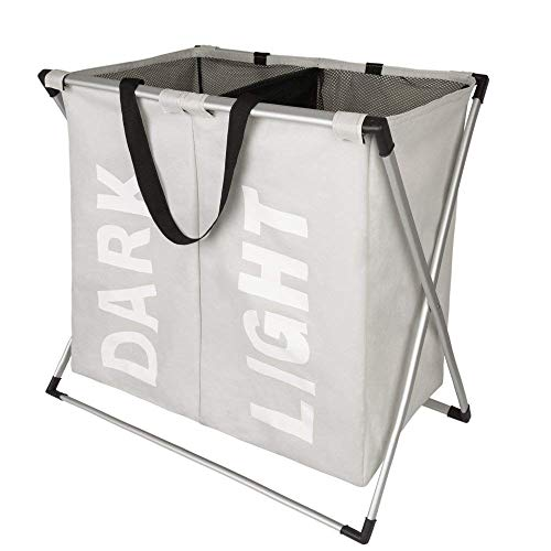 WOWLIVE 2 Section Laundry Hamper X-Frame Double Laundry Basket with  Aluminum Frame Durable Dirty 8d27d77133fa6