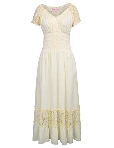 Womens Gypsy Tiered Smock Waist Long Maxi Boho Peasant Dress Beige Size S BP440-2 ()