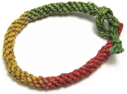 赤、黄、緑の三色ヘンプ(麻)ミサンガ