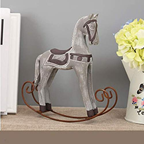 TUKURIO Trojan Horse Statue Wedding Decor Wood Retro Accessories Rocking Ornament Home Decoration Modern Europe Style (Horse Rocking Accessories)