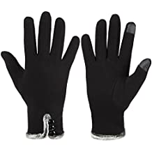 GLOUE Women's Touch Screen Gloves Texting Lined Cashmere Thick Gloves Warm Whether Winter Gloves Driving riding outdoor and indoor fashionable gloves