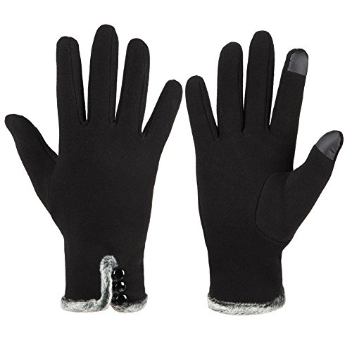 GLOUE Women's Touch Screen Gloves Texting Lined Cashmere Thick Gloves Warm Whether Winter Gloves Driving riding outdoor and indoor fashionable gloves (Black)