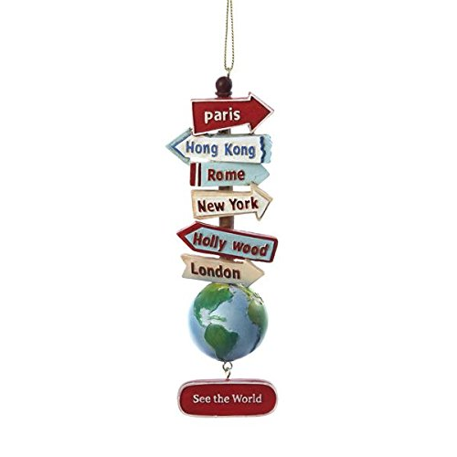 Kurt Adler Resin Stacked World Signs With Globe Ornament ()