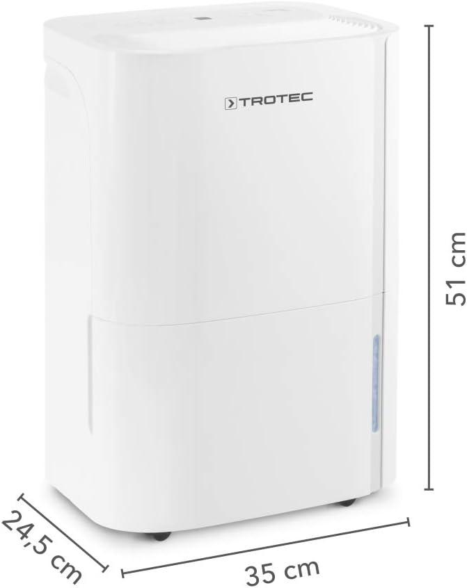 430 W TROTEC Deshumidificador el/éctrico TTK 54 E Blanco Indicador LED 16L//24h Dep/ósito 3L Ruedas Filtro de Aire Secado de Ropa Port/átil