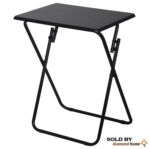 Single Black Dinner Trays with Legs, This Breakfast Tray with Legs Is Made of Metal, Tv Trays and Snack Tables Are Perfect When Wanting to Have Something to Eat on That's Foldable and Easy to Put Away