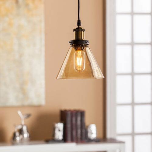 Southern Enterprises Carina Colored Glass Mini Pendant Lamp in Amber (Lights Pendant Mini Colored)