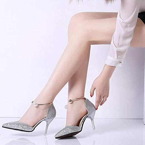 Soirée coloré Paillettes Noir Talons Mariage Femmes Fuweiencore Hauts Discothèque 5 cn38 Argent Eu38 Pour Pointues Taille Cm De Chaussures 5 uk5 8 gq06p