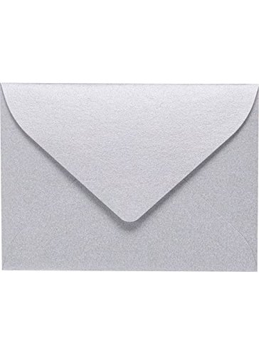 #17 Mini Gift Card Envelopes (2 11/16 x 3 11/16) - Silver Metallic (50 Qty.) | Perfect for the Holidays, Holding Place Cards, Gift Cards, Notes, and Flower Arrangement Cards |MINSDS-50